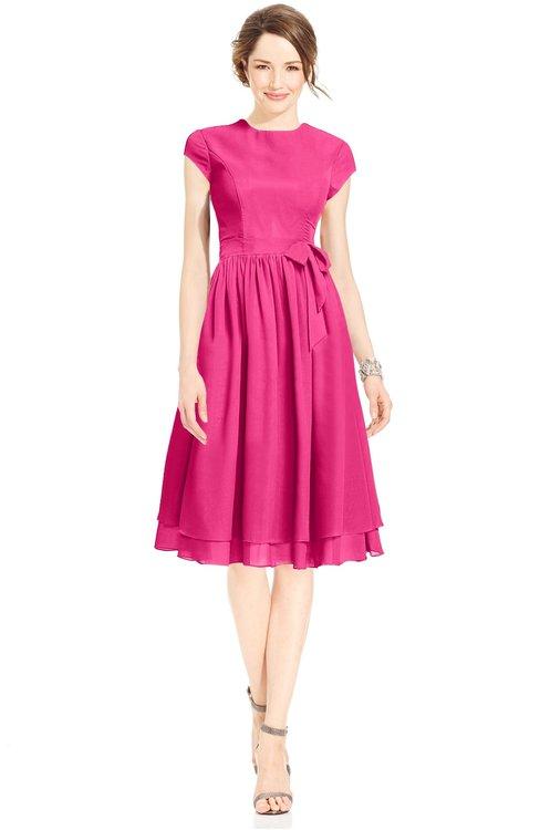 ColsBM Jane Fandango Pink Mature Fit-n-Flare High Neck Zip up Chiffon Bridesmaid Dresses