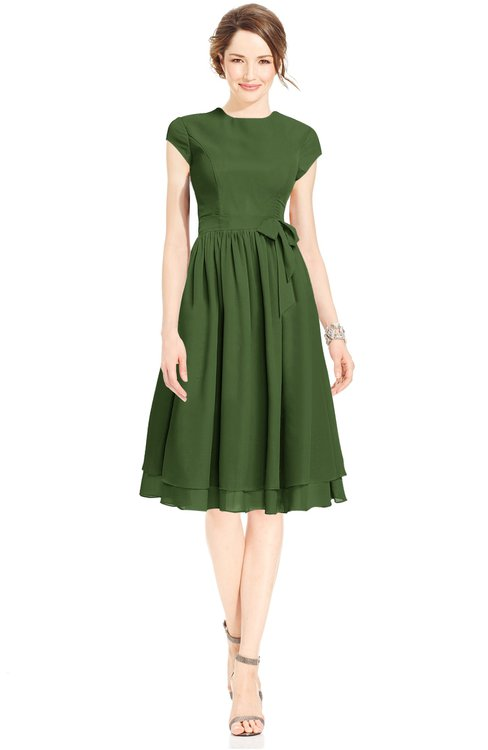 ColsBM Jane Garden Green Mature Fit-n-Flare High Neck Zip up Chiffon Bridesmaid Dresses