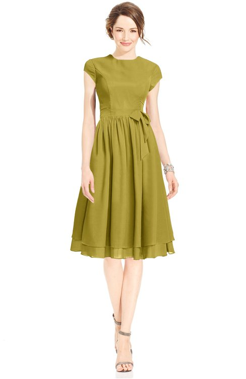 ColsBM Jane Golden Olive Mature Fit-n-Flare High Neck Zip up Chiffon Bridesmaid Dresses