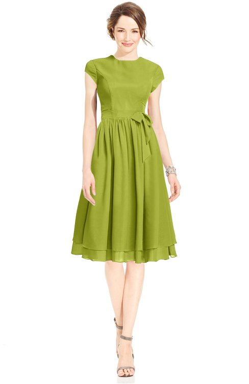 ColsBM Jane Green Oasis Mature Fit-n-Flare High Neck Zip up Chiffon Bridesmaid Dresses