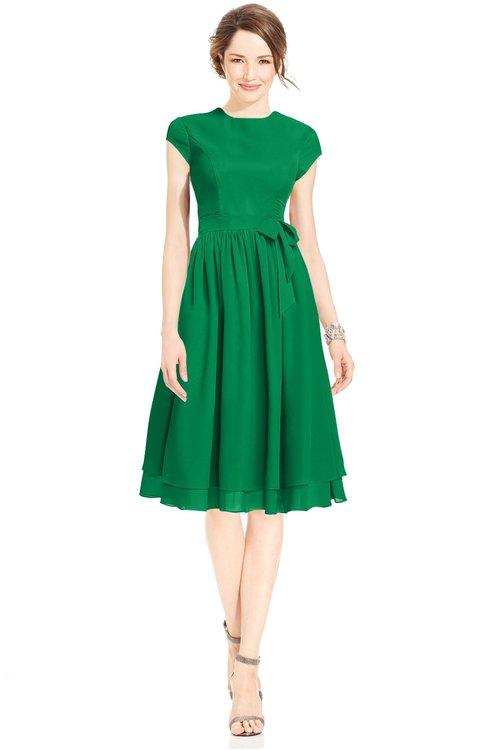 ColsBM Jane Green Mature Fit-n-Flare High Neck Zip up Chiffon Bridesmaid Dresses