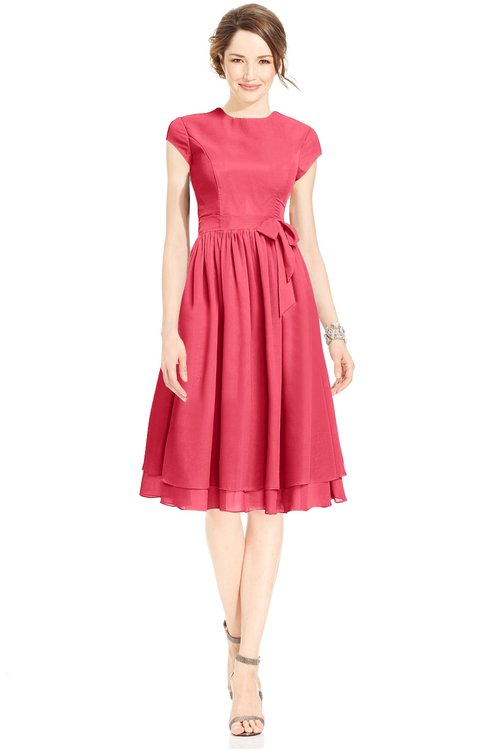 ColsBM Jane Guava Mature Fit-n-Flare High Neck Zip up Chiffon Bridesmaid Dresses