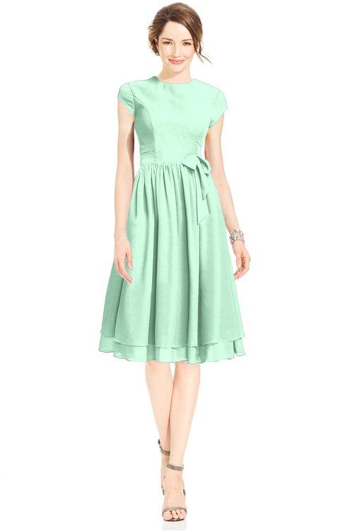ColsBM Jane Honeydew Mature Fit-n-Flare High Neck Zip up Chiffon Bridesmaid Dresses