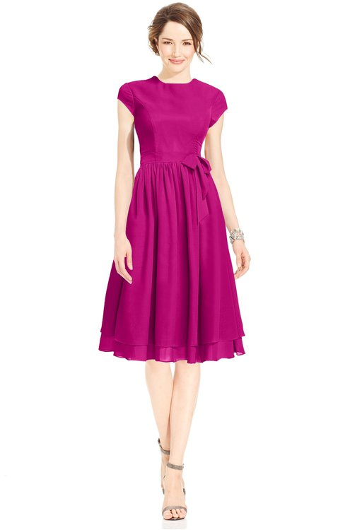 ColsBM Jane Hot Pink Mature Fit-n-Flare High Neck Zip up Chiffon Bridesmaid Dresses