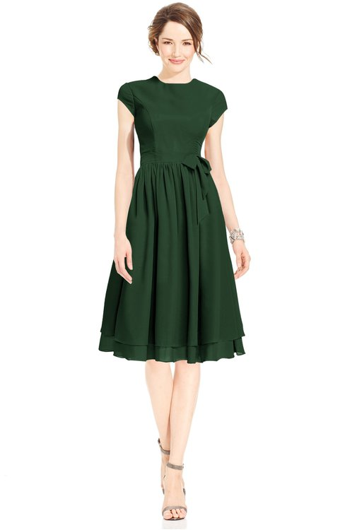 ColsBM Jane Hunter Green Mature Fit-n-Flare High Neck Zip up Chiffon Bridesmaid Dresses