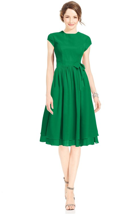 ColsBM Jane Jelly Bean Mature Fit-n-Flare High Neck Zip up Chiffon Bridesmaid Dresses