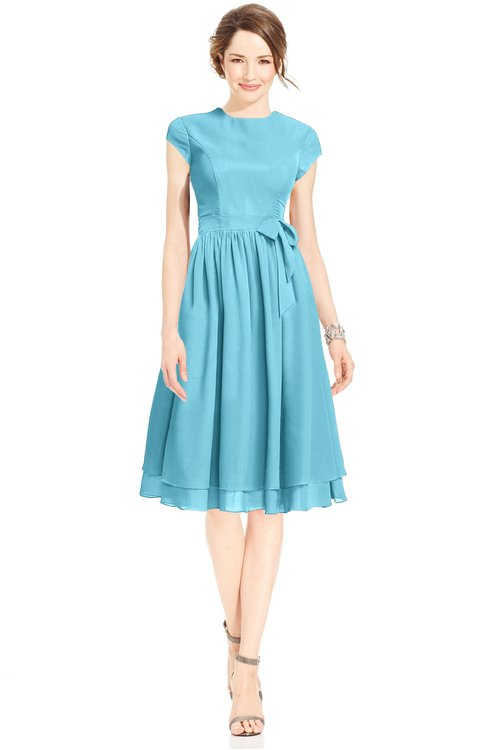 ColsBM Jane Light Blue Mature Fit-n-Flare High Neck Zip up Chiffon Bridesmaid Dresses