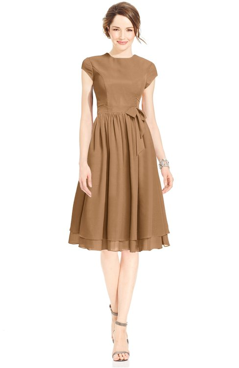 ColsBM Jane Light Brown Mature Fit-n-Flare High Neck Zip up Chiffon Bridesmaid Dresses
