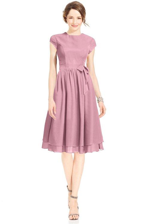 ColsBM Jane Light Coral Mature Fit-n-Flare High Neck Zip up Chiffon Bridesmaid Dresses