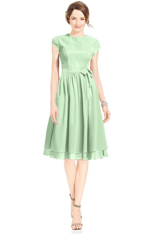 ColsBM Jane Light Green Mature Fit-n-Flare High Neck Zip up Chiffon Bridesmaid Dresses