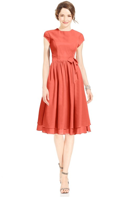 ColsBM Jane Living Coral Mature Fit-n-Flare High Neck Zip up Chiffon Bridesmaid Dresses
