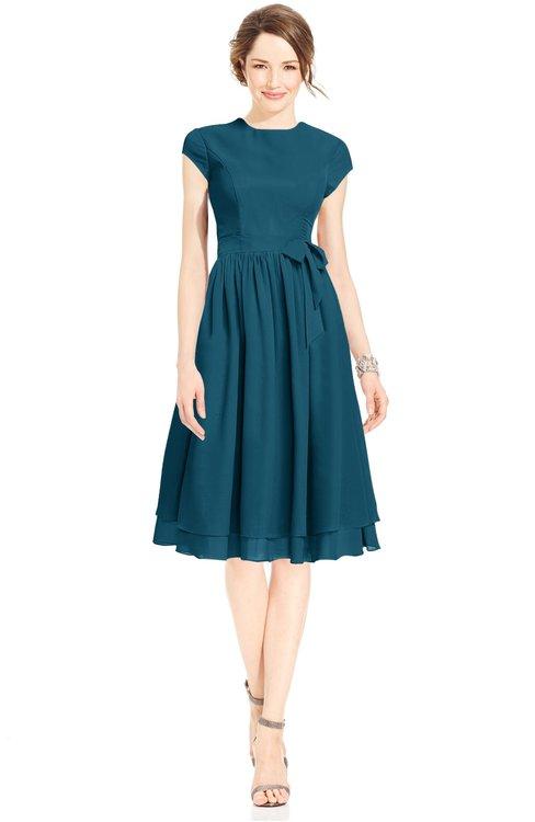 ColsBM Jane Moroccan Blue Mature Fit-n-Flare High Neck Zip up Chiffon Bridesmaid Dresses