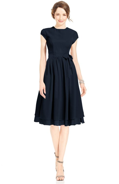 ColsBM Jane Navy Blue Mature Fit-n-Flare High Neck Zip up Chiffon Bridesmaid Dresses