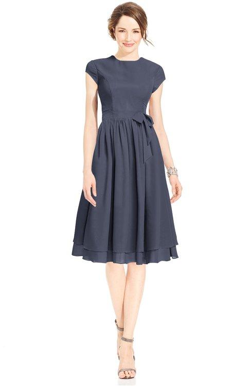 ColsBM Jane Nightshadow Blue Mature Fit-n-Flare High Neck Zip up Chiffon Bridesmaid Dresses
