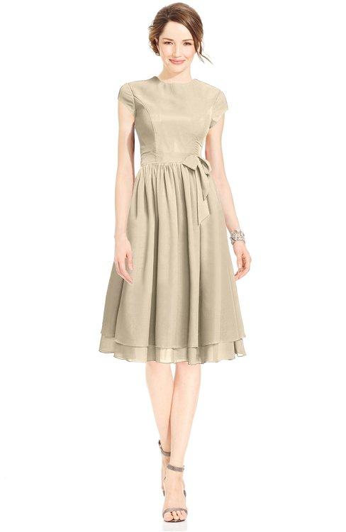 ColsBM Jane Novelle Peach Mature Fit-n-Flare High Neck Zip up Chiffon Bridesmaid Dresses