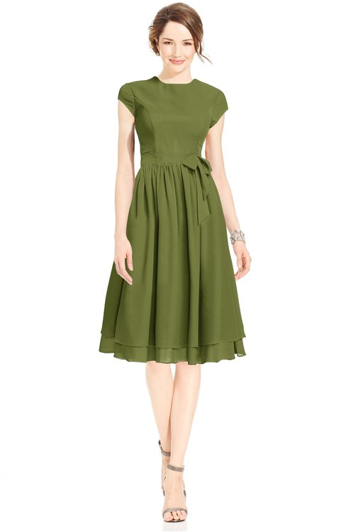 ColsBM Jane Olive Green Mature Fit-n-Flare High Neck Zip up Chiffon Bridesmaid Dresses