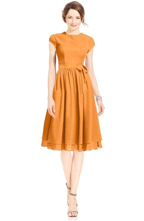 ColsBM Jane Orange Mature Fit-n-Flare High Neck Zip up Chiffon Bridesmaid Dresses