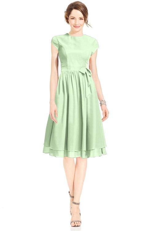 ColsBM Jane Pale Green Mature Fit-n-Flare High Neck Zip up Chiffon Bridesmaid Dresses