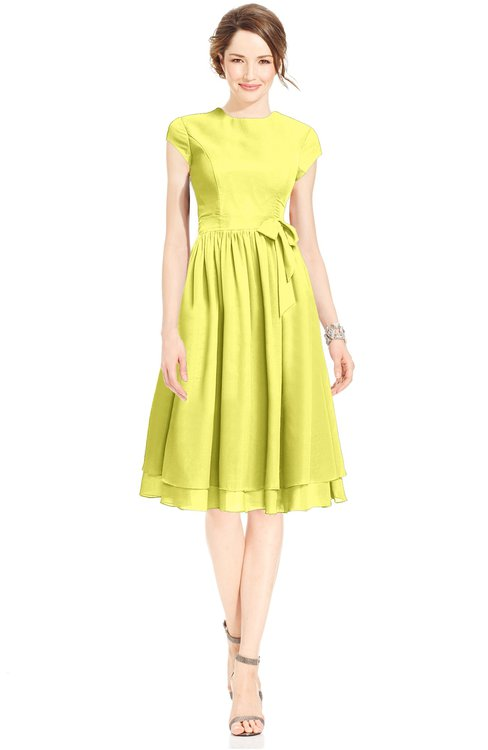 ColsBM Jane Pale Yellow Mature Fit-n-Flare High Neck Zip up Chiffon Bridesmaid Dresses