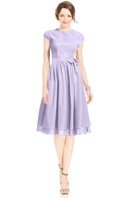ColsBM Jane Pastel Lilac Mature Fit-n-Flare High Neck Zip up Chiffon Bridesmaid Dresses