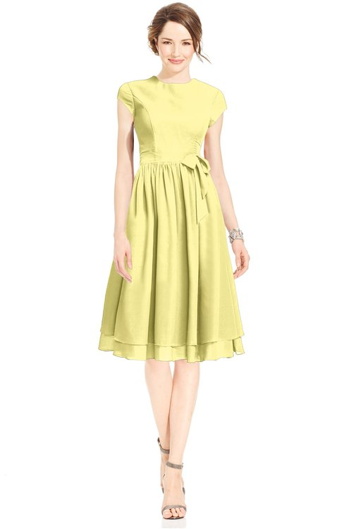 ColsBM Jane Pastel Yellow Mature Fit-n-Flare High Neck Zip up Chiffon Bridesmaid Dresses