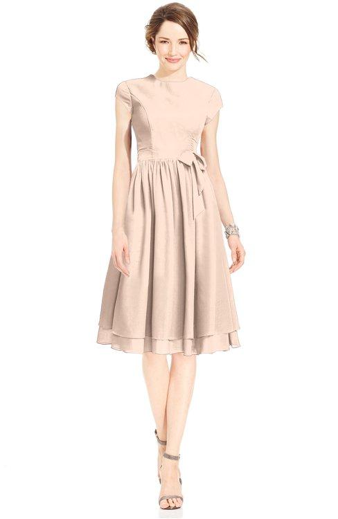 ColsBM Jane Peach Puree Mature Fit-n-Flare High Neck Zip up Chiffon Bridesmaid Dresses