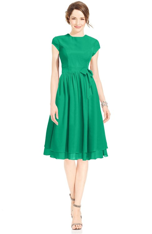 ColsBM Jane Pepper Green Mature Fit-n-Flare High Neck Zip up Chiffon Bridesmaid Dresses