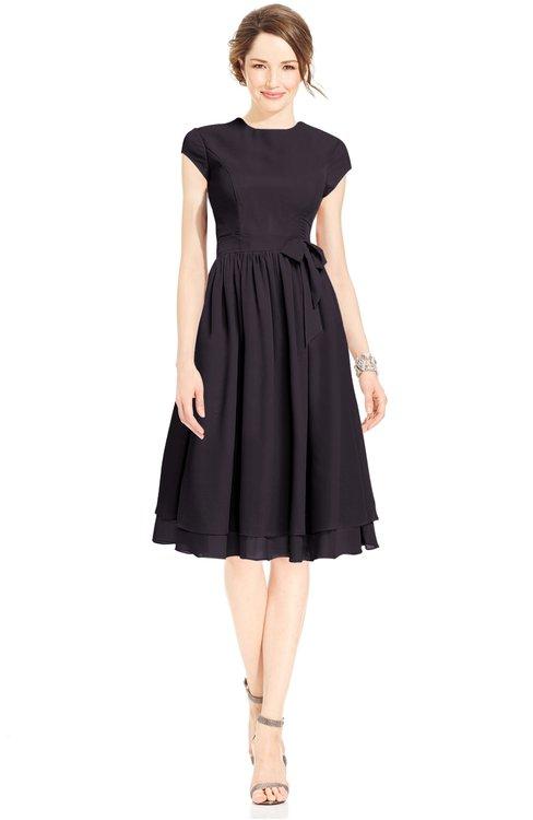 ColsBM Jane Perfect Plum Mature Fit-n-Flare High Neck Zip up Chiffon Bridesmaid Dresses