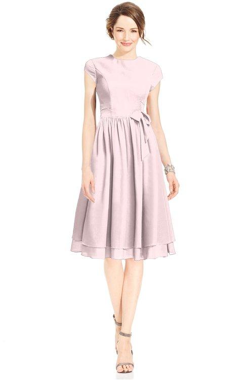 ColsBM Jane Petal Pink Mature Fit-n-Flare High Neck Zip up Chiffon Bridesmaid Dresses