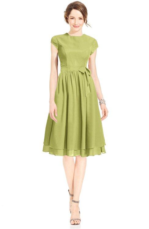 ColsBM Jane Pistachio Mature Fit-n-Flare High Neck Zip up Chiffon Bridesmaid Dresses