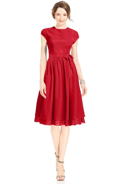 ColsBM Jane Red Mature Fit-n-Flare High Neck Zip up Chiffon Bridesmaid Dresses