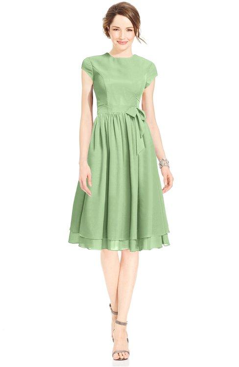 ColsBM Jane Sage Green Mature Fit-n-Flare High Neck Zip up Chiffon Bridesmaid Dresses