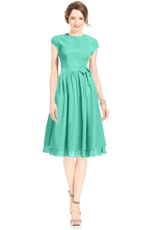ColsBM Jane Seafoam Green Mature Fit-n-Flare High Neck Zip up Chiffon Bridesmaid Dresses