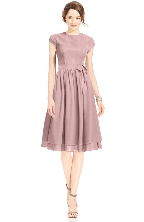 ColsBM Jane Silver Pink Mature Fit-n-Flare High Neck Zip up Chiffon Bridesmaid Dresses