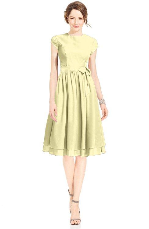 ColsBM Jane Soft Yellow Mature Fit-n-Flare High Neck Zip up Chiffon Bridesmaid Dresses