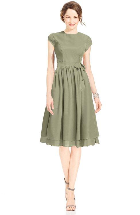ColsBM Jane Sponge Mature Fit-n-Flare High Neck Zip up Chiffon Bridesmaid Dresses