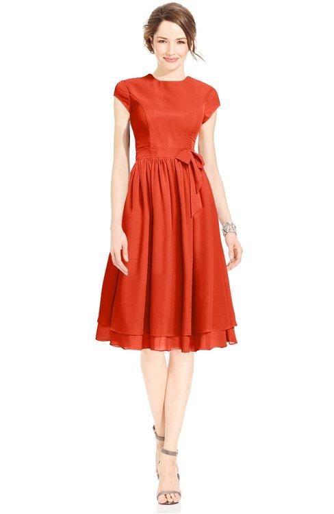 ColsBM Jane Tangerine Tango Mature Fit-n-Flare High Neck Zip up Chiffon Bridesmaid Dresses