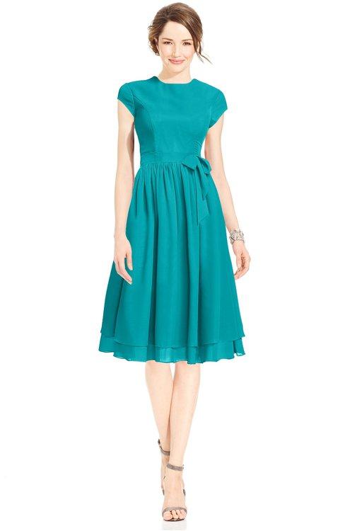 ColsBM Jane Teal Mature Fit-n-Flare High Neck Zip up Chiffon Bridesmaid Dresses