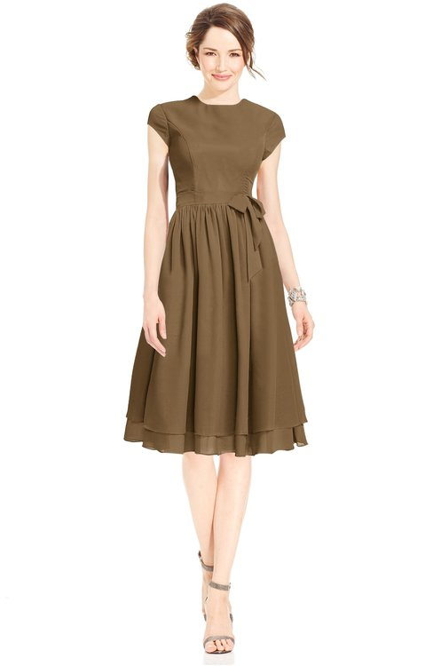 ColsBM Jane Truffle Mature Fit-n-Flare High Neck Zip up Chiffon Bridesmaid Dresses