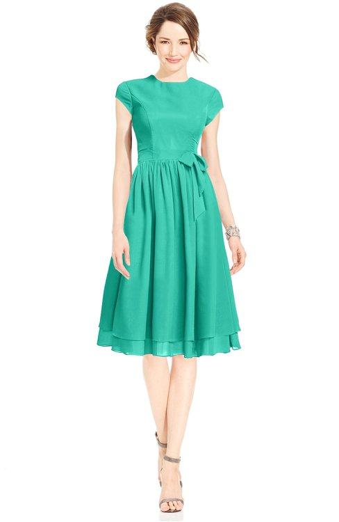 ColsBM Jane Viridian Green Mature Fit-n-Flare High Neck Zip up Chiffon Bridesmaid Dresses