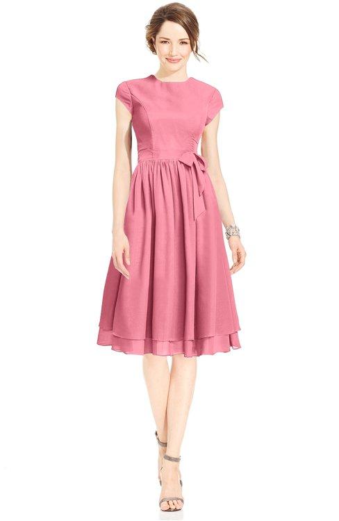 ColsBM Jane Watermelon Mature Fit-n-Flare High Neck Zip up Chiffon Bridesmaid Dresses