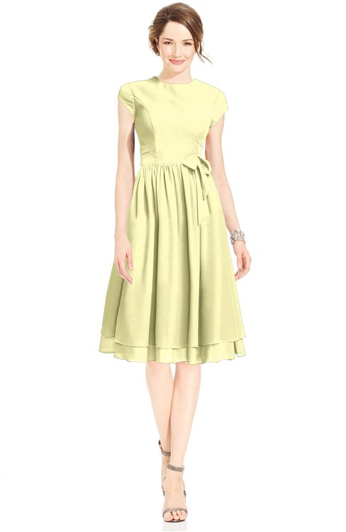 ColsBM Jane Wax Yellow Mature Fit-n-Flare High Neck Zip up Chiffon Bridesmaid Dresses