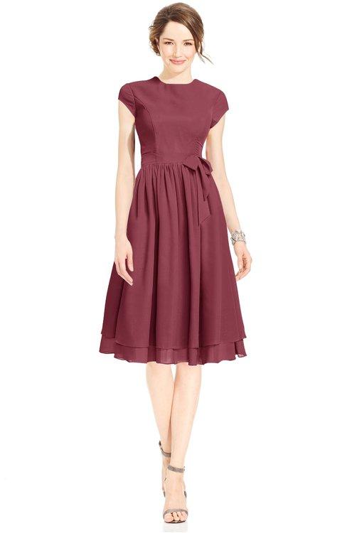 ColsBM Jane Wine Mature Fit-n-Flare High Neck Zip up Chiffon Bridesmaid Dresses