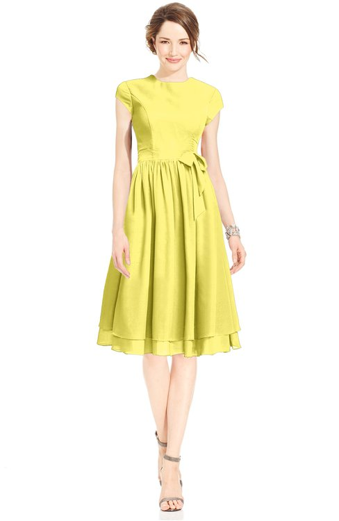 ColsBM Jane Yellow Iris Mature Fit-n-Flare High Neck Zip up Chiffon Bridesmaid Dresses