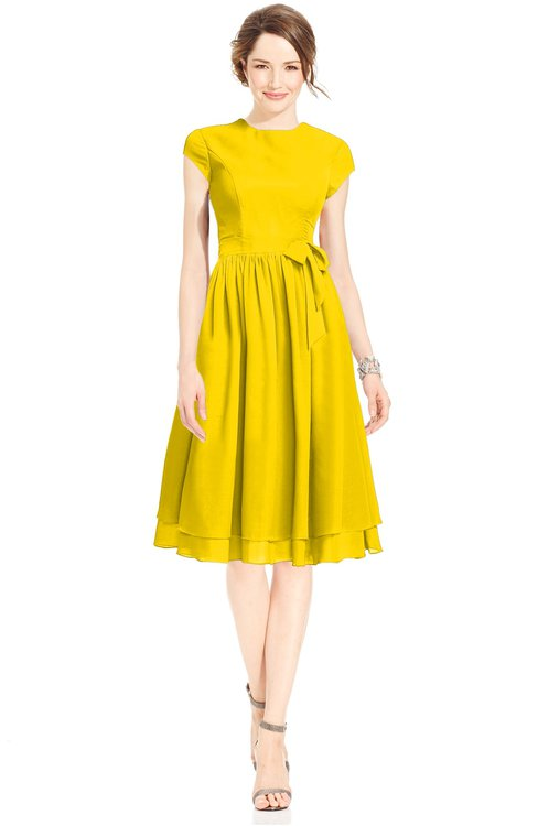 ColsBM Jane Yellow Mature Fit-n-Flare High Neck Zip up Chiffon Bridesmaid Dresses