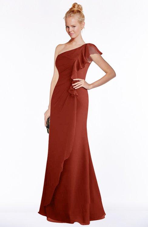 af4a1ef585cbc ColsBM Hope Rust Gorgeous Trumpet One Shoulder Zip up Chiffon Floor Length  Bridesmaid Dresses