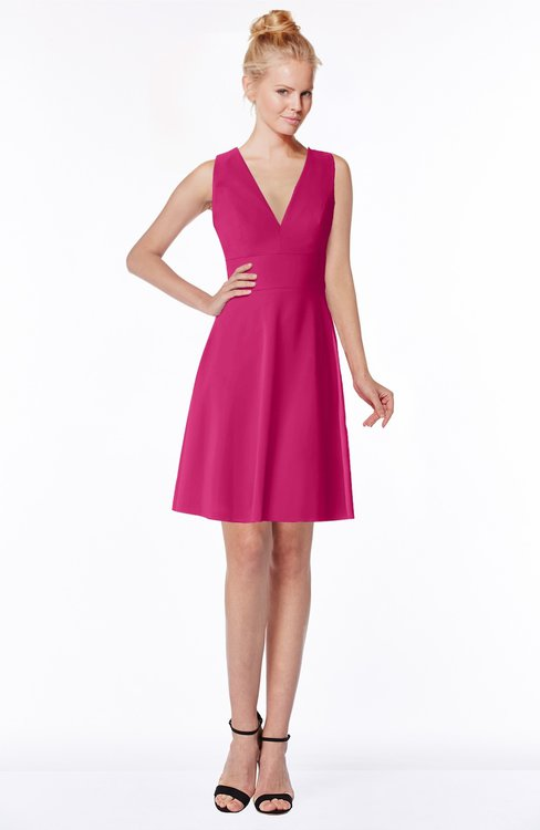 ColsBM Rivka Beetroot Purple Glamorous Fit-n-Flare V-neck Zip up Chiffon Knee Length Bridesmaid Dresses
