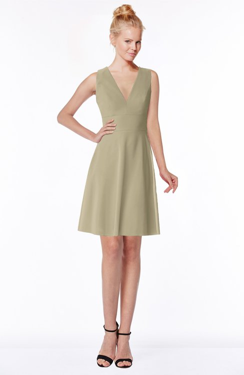 ColsBM Rivka Candied Ginger Glamorous Fit-n-Flare V-neck Zip up Chiffon Knee Length Bridesmaid Dresses