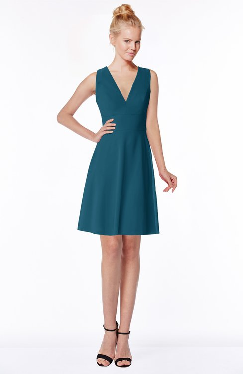 ColsBM Rivka Moroccan Blue Glamorous Fit-n-Flare V-neck Zip up Chiffon Knee Length Bridesmaid Dresses