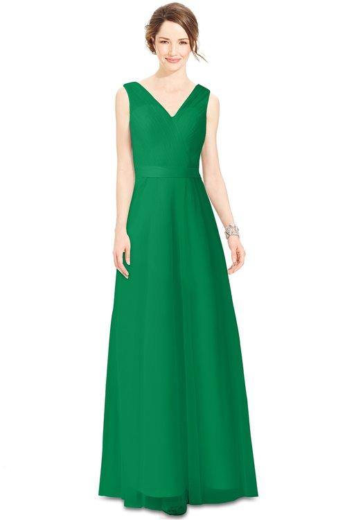 5c146a4c16aa ColsBM Gayle Green Classic V-neck Sleeveless Floor Length Bow Bridesmaid  Dresses